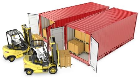 lift truck: Dos contenedores amarillos de carretillas elevadoras de descarga, aislados en fondo blanco