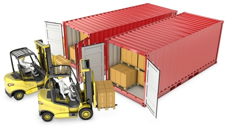 Two yellow lift truck unloading containers, isolated on white background photo