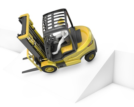 lift truck: Un cami�n amarillo de elevaci�n tenedor cayendo despu�s de encender la pendiente, aisladas sobre fondo blanco