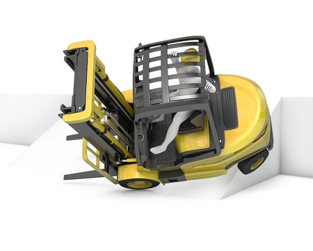 norms: Yellow fork lift truck falling after turning on slope, isolated on white background