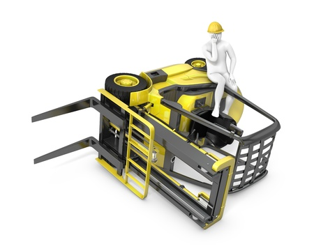 accident at work: Lift truck flipped on side after falling, isolated on white background