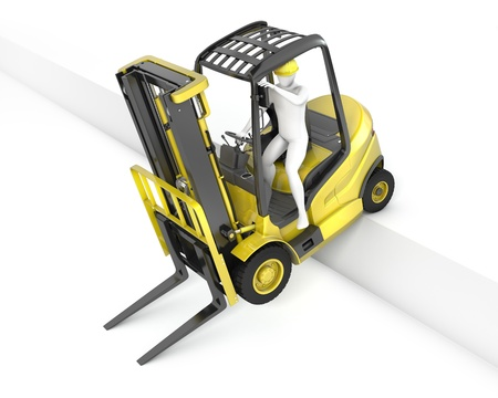 fork lift: Un cami�n amarillo de elevaci�n tenedor clavado despu�s de caer de la rampa, aisladas sobre fondo blanco Foto de archivo