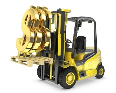 Fork lift truck lifts gold dollar sign, isolated on white background