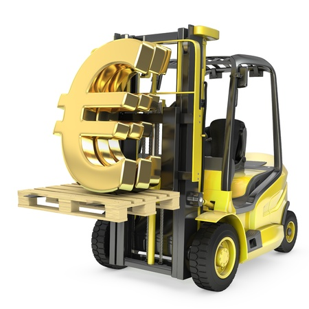 Fork lift truck lifts gold euro sign, isolated on white background photo