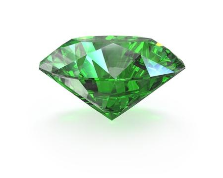 Vert émeraude taille ronde, isolé sur blanc Banque d'images
