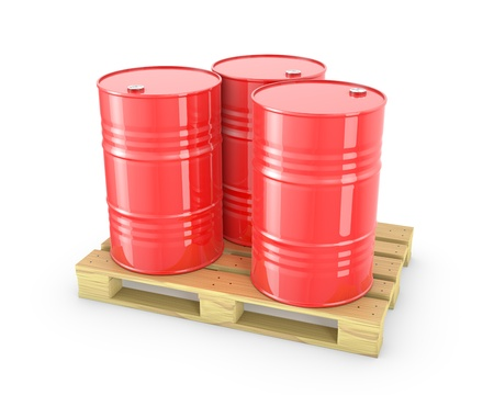 Three red barrels on a pallet isolated on white background photo