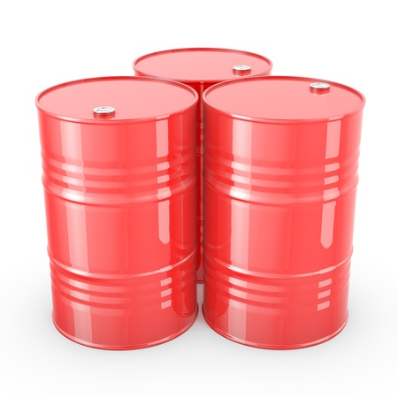 Three red barrels isolated on white background photo