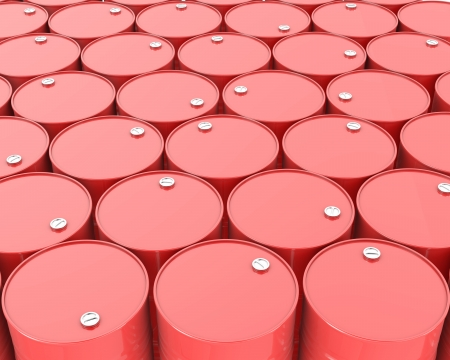 Large group of red barrels