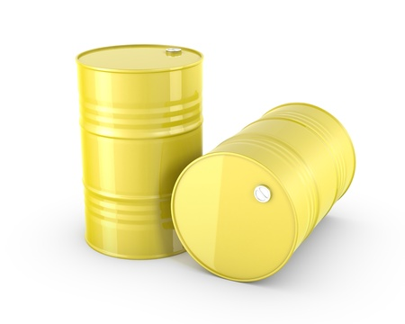 Two yellow barrels, isolated on white background photo