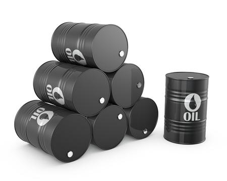 oil barrel: Pir�mide de barriles de petr�leo y el barril solo, aislado en fondo blanco Foto de archivo