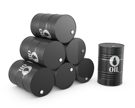 Pyramid of oil barrels and single barrel, isolated on white background Standard-Bild