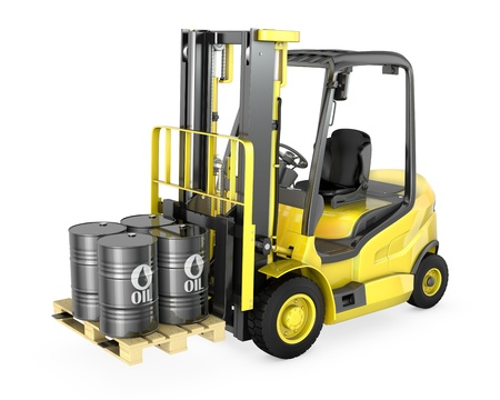 Yellow fork lift lifts four oil barrels, isolated on white background photo