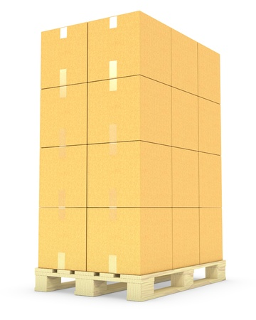Stack of cardboard boxes on a pallet isolated on white background  photo