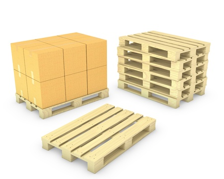 cardboard cutout: Stack of cardboard boxes and stack of pallets, isolated on white