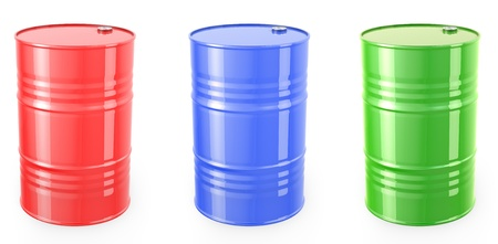 barell: Three single red barrels, red, green and blue isolated on white background