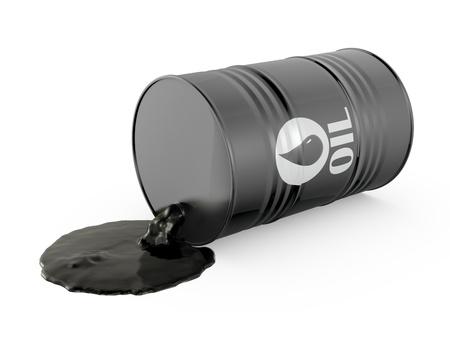 El petróleo se derrama desde el barril, aislado en fondo blanco Foto de archivo