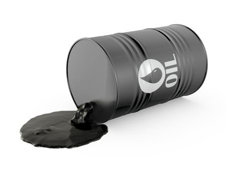 Oil is spilling from the barrel, isolated on white background