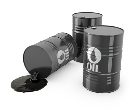 Three barrels and spilled oil, isolated on white background Stock Photo