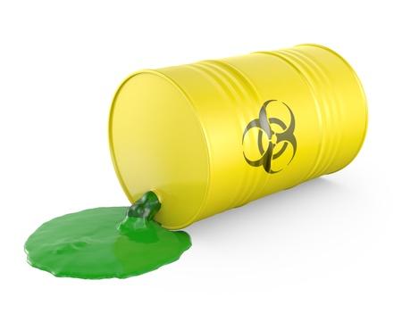 riesgo quimico: Los desechos tóxicos se derrama desde el barril, aislado sobre fondo blanco