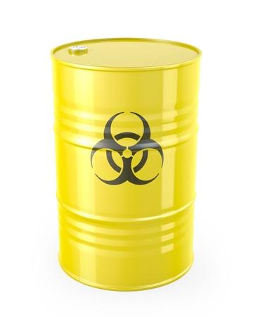 barell: Barrel with biohazard symbol, isolated on white background Stock Photo