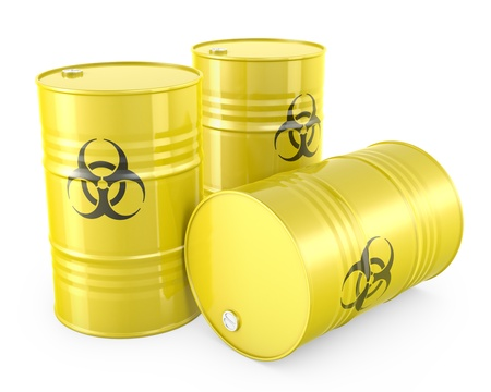 Three yellow barrels with biohazard symbol, isolated on white background photo