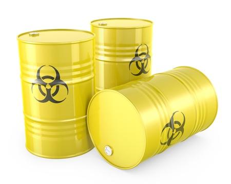 Three yellow barrels with biohazard symbol, isolated on white background Stock Photo - 14839950