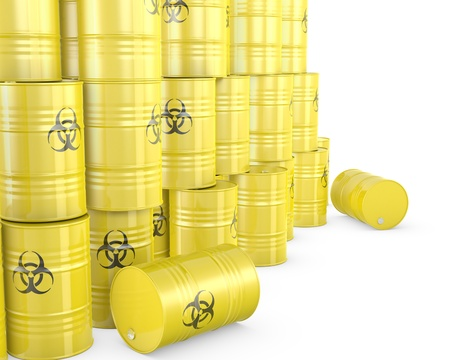 Barrels with biohazard symbol, isolated on white background Stock Photo - 14839647