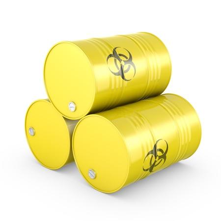riesgo biologico: Tres barriles amarillos con el símbolo de riesgo biológico, aislados en fondo blanco