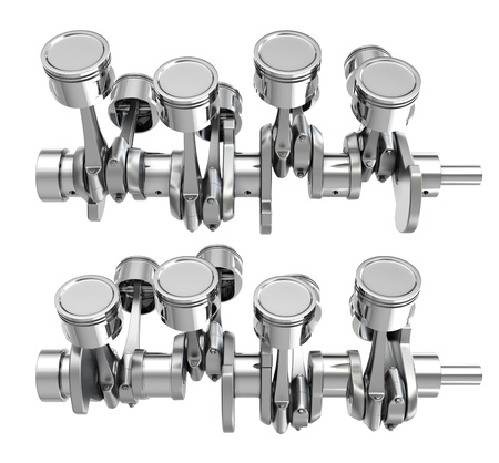 V8 engine pistons on a crankshaft, two positions, isolated on white background Stock Photo - 14839963