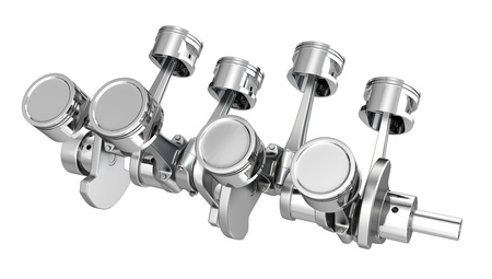 V8 engine pistons on a crankshaft, isolated on white background Stock Photo - 14839948