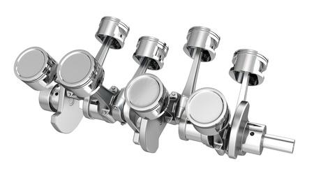 V8 engine pistons on a crankshaft, isolated on white background Stock Photo - 14839948