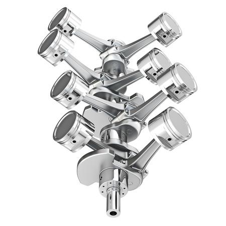 pistons: V8 engine pistons on a crankshaft, isolated on white background