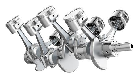 V8 engine pistons on a crankshaft, isolated on white background