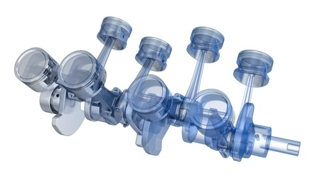 V8 engine pistons on a crankshaft, half x-ray version on black background Stock Photo - 14839965
