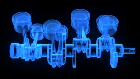 pistons: V8 engine pistons on a crankshaft, blue x-ray version on black background Stock Photo