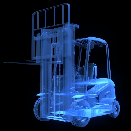Fork lift truck, front view,  x-ray version photo