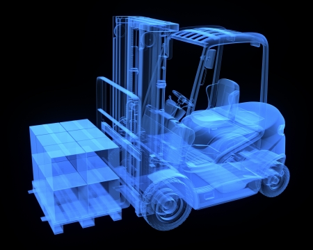 Fork lift truck, with cardboards,  x-ray version Stock Photo