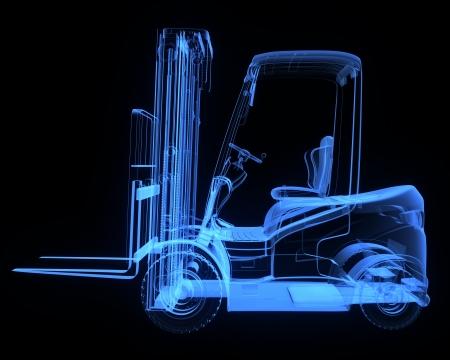 lift truck: Carretilla elevadora tenedor, vista lateral, la versi�n de rayos x