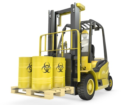 Fork lift truck with biohazard barrels, isolated on white background photo