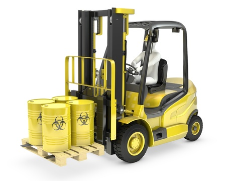 Fork lift truck with biohazard barrels, isolated on white background Stock Photo - 14839961