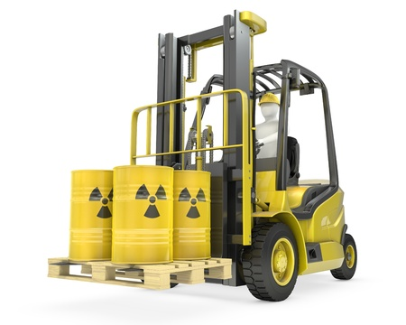 Fork lift truck with radioactive barrels, isolated on white background photo