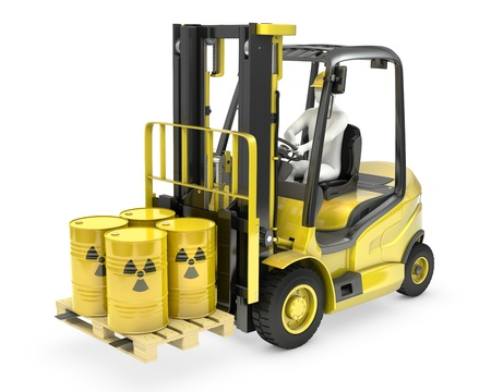 nuclear waste disposal: Fork lift truck with radioactive barrels, isolated on white background