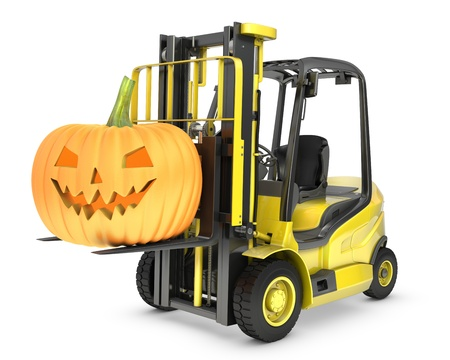 lifting jack: Yellow fork lift truck lifts halloween lantern, isolated on white background