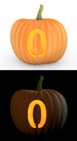Number 0 carved on pumpkin jack lantern isolated on and white background Stock Photo - 14839902