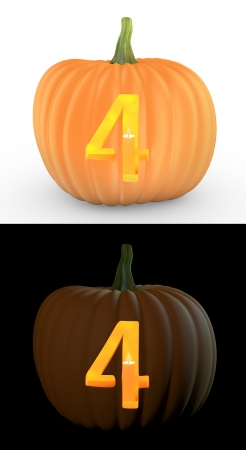 Number 4 carved on pumpkin jack lantern isolated on and white background photo