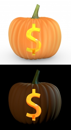 scary pumpkin: Dollar symbol carved on pumpkin jack lantern isolated on and white background