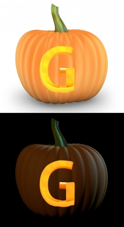 g alphabet: G letter carved on pumpkin jack lantern isolated on and white background