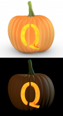 Q letter carved on pumpkin jack lantern isolated on and white background Stock Photo - 14839955