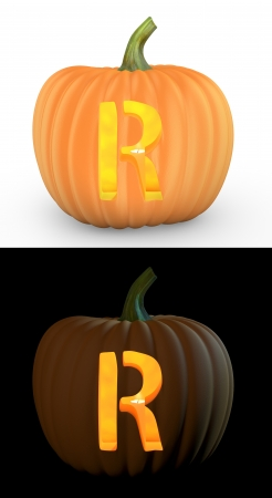 carved pumpkin: R letter carved on pumpkin jack lantern isolated on and white background