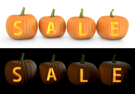 food sales: Sale text carved on pumpkin jack lantern isolated on and white background Stock Photo
